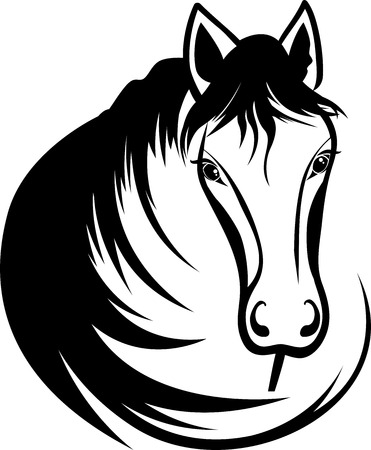 mustang horses: Head of horse with black mane, stencil Illustration