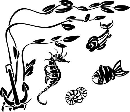 water anchor: Underwater World, stencils, algae, fish and seahorseUnderwater World, stencil, water plant, fish and seahorse Illustration