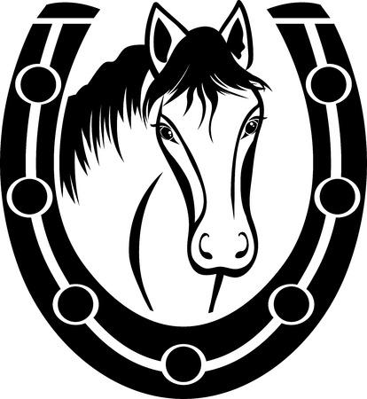 caballos negros: Caballo y herradura, stencil negro