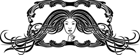 Symbol of silence, girl pressing a finger to her lips, stencil in art-nouveau style Vector