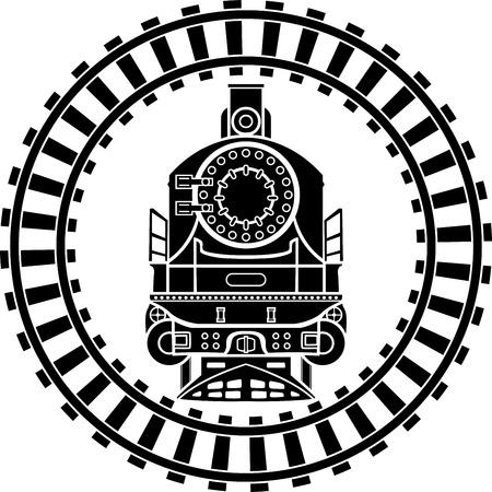 Old steam locomotive railway frame, stencil