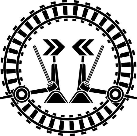 straighten: Switch arrows railway in round frame. stencil