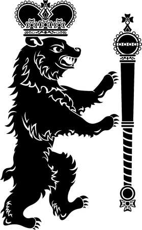 scepter: Heraldic bear full height, crown and scepter, stencil
