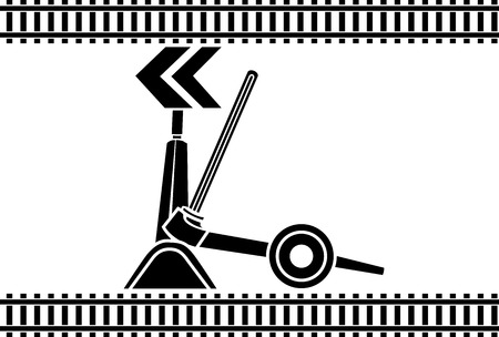 turnout: Switch arrows railway stencil Illustration