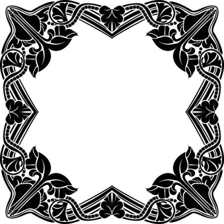 Black square frame, vintage, stencil Ilustrace