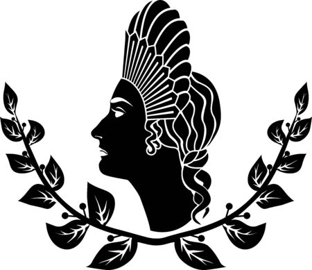 Ancient Roman hairstyle, girl in a laurel wreath, stencil Illustration