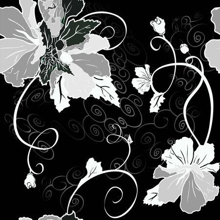 Mallow flower seamless set black, grey and white variant Ilustracja