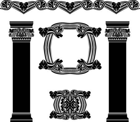 Set of decorative elements, columns, pattern, frame, vintage, stencil Vecteurs