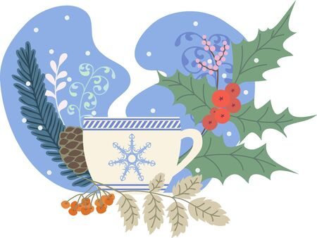 Winter tea, holly, rowan and Christmas tree, colored illustration, hygge concept