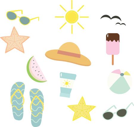 Vector illustration of beach set. Summer holiday.