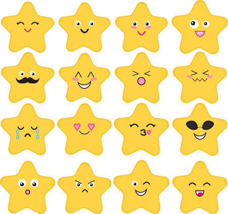 Set of 16 cute kawaii stars with different expressions.