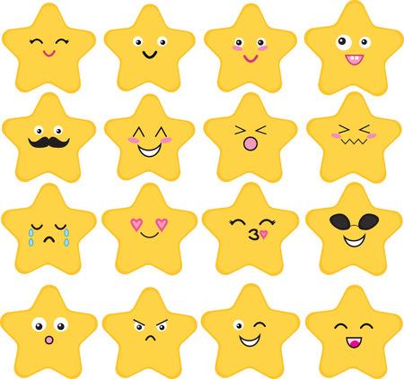 Set van 16 schattige kawaii-sterren met verschillende uitdrukkingen. Stock Illustratie