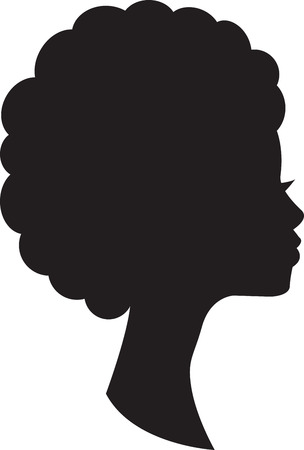 Head in profile of african woman on white background.