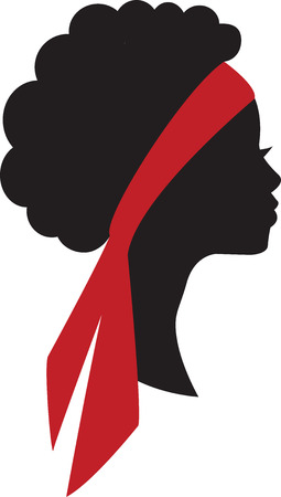 Silhouette of beauty young african girl head in profile with hair bandage.