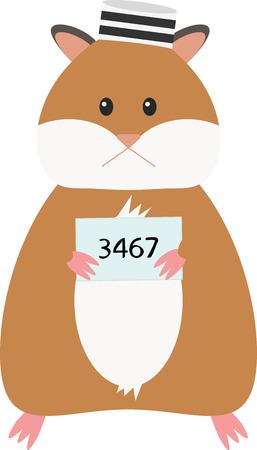 A Vector Illustration of funny cartoon hamster. Criminal mug shot. Illustration