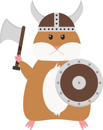 Funny cartoon hamster viking. Cute hamster dressed like viking. Illustration