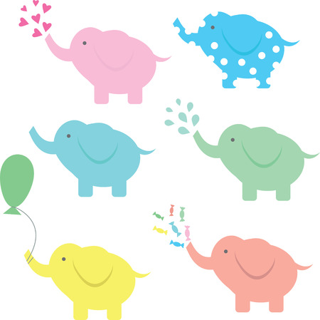 nice girls: Cute vector elephant collection with hearts, water, balloon and candies. Illustration