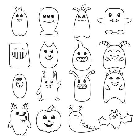 Halloween Divertido Monstruo Sin Patrón, Personajes Del Doodle: Lobo ...
