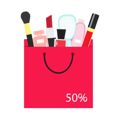 Dekorative Kosmetik in Einkaufstasche, großer Umsatz. Vektor-Illustration. Standard-Bild - 84613396