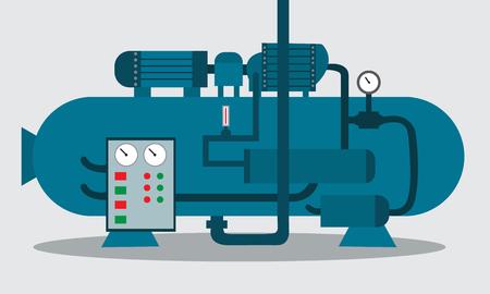 Kompressor für die Lagerung von Chemikalien. Vektor-Illustration.