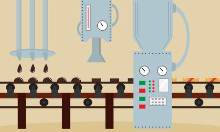 Fábrica de caramelos. Máquina para la producción de chocolates dulces. Estilo plano, ilustración vectorial. Foto de archivo - 84711852