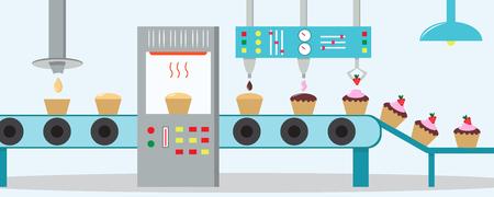 Fábrica de las magdalenas. Máquina para la producción de pastelitos con chocolate, crema y fresa. Estilo plano. Foto de archivo - 84803186