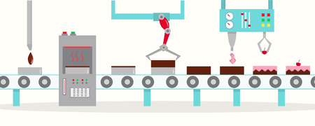 The conveyor for the production of cakes with cherries. The factory of cakes. Flat style, vector illustration.