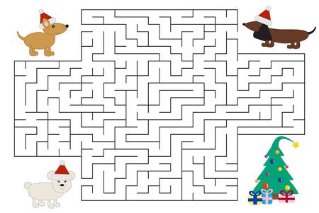 Divertidos perros de dibujos animados en laberinto de Navidad están buscando regalos. Laberinto para niños en edad preescolar y escolar. Ilustración vectorial Foto de archivo - 86617469