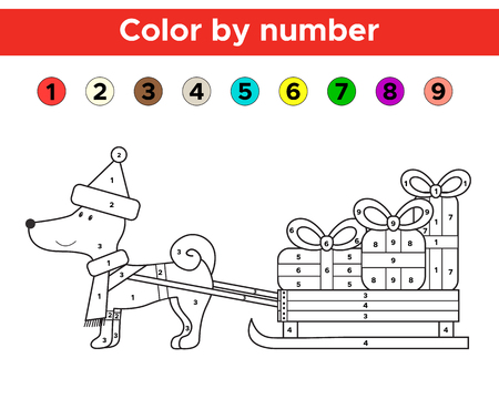 Color by number for preschool and school kids. Christmas coloring page with funny cartoon dog. Vector illustration.