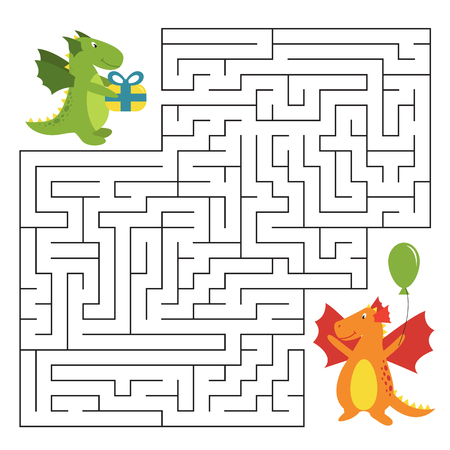 Birthday maze game with funny cartoon dragons. Task for children. Vector illustration.