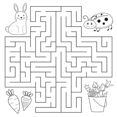 Educational maze for preschool children coloring page or book. Vectores