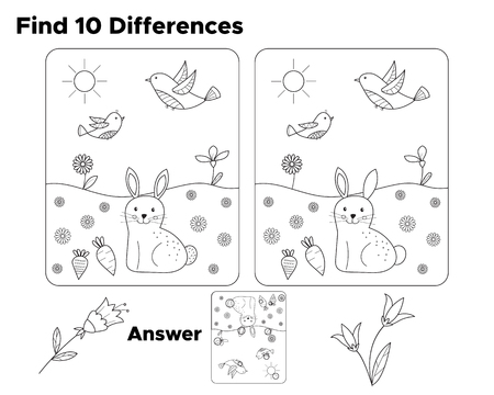 Find ten differences, task for preschool kids. With answer. Coloring page or book for children. Educational game. Vector illustration.