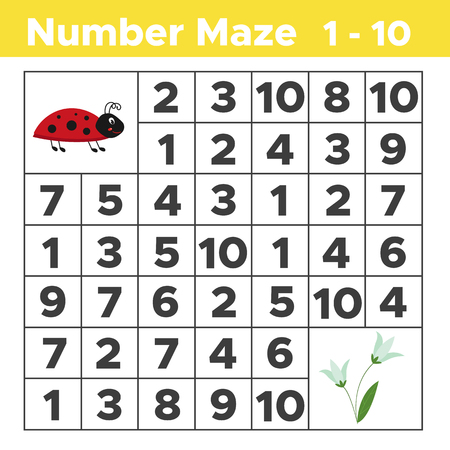 Number Maze, Math Puzzle Game For Children. Help Ladybug Find ...