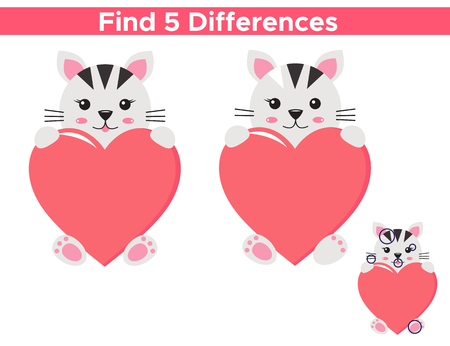 Valentines day educational game for children. Find five differences. Kawaii cat with heart. Vector illustration