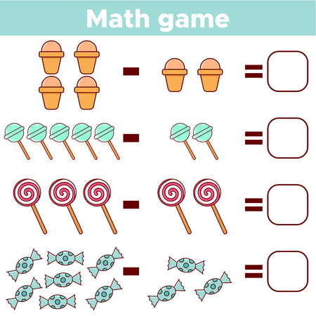 Educational a mathematical game for preschool kids. Subtraction worksheet for children. Count the number of sweets and write the result. Vector illustration. Illustration