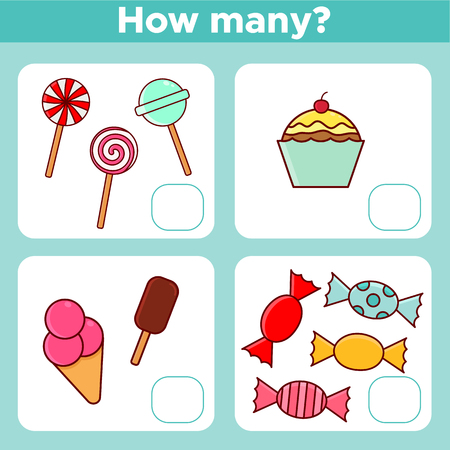 Counting worksheet educational math game for preschool children with different sweets illustration.