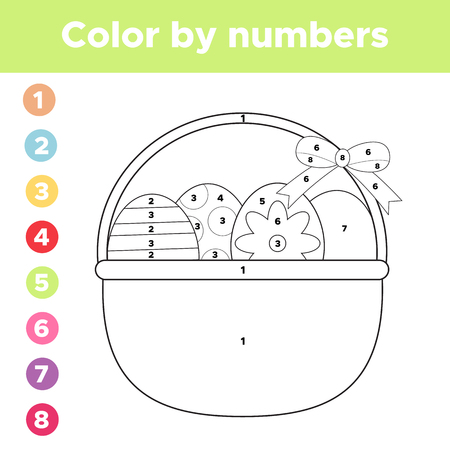 Color by numbers. Coloring page Easter eggs in basket. Educational game for preschool children. Vector illustration. Ilustração