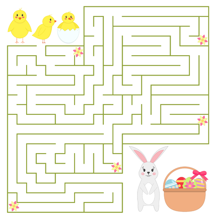Help chickens find the way to Easter bunny with Easter eggs in the basket. Cute cartoon characters. Educational game for children. Vector illustration
