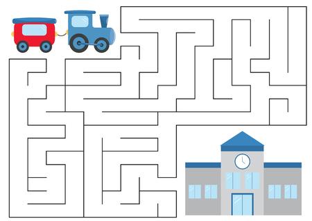 Educational maze game for preschool kids. Help the train. Vector illustration.