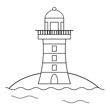 Coloring page for kids. Cartoon lighthouse. Vector illustration Stock Illustratie