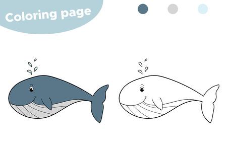 Wieloryb kreskówka. Gra edukacyjna dla dzieci. Podwodny świat.