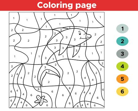 Número de página para colorear para niños. Delfín de dibujos animados. Mundo submarino. Ilustración de vector