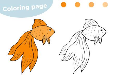Cute cartoon golden fish. Underwater world