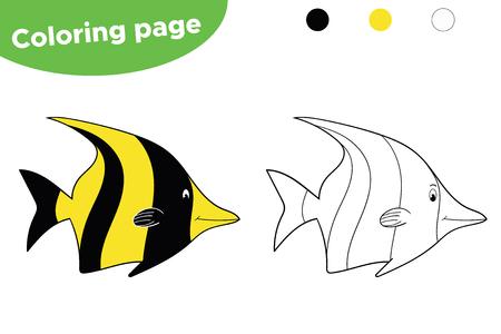 Underwater world. Cute cartoon fish. Educational game for children. Vector Illustration