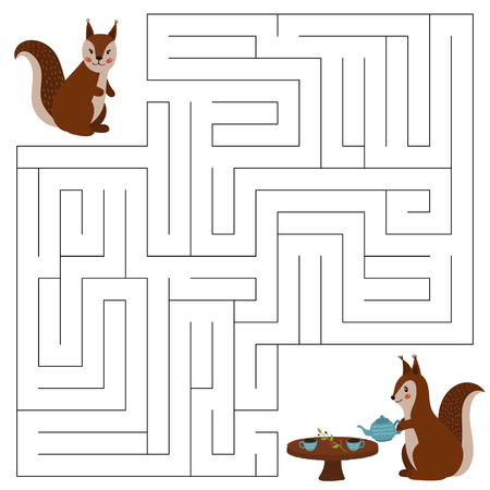 Maze game for children, the cute cartoon squirrels. Help the squirrel to find the right way to her friend. Tea time. Woodland animals. Hand drawn vector illustration.