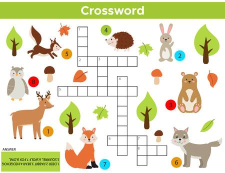 영어에서 벡터 숲 동물 크로스 워드 퍼즐입니다. 답변이 있는 어린이를 위한 교육 게임. 인쇄 가능한 워크시트. 귀여운 만화 토끼, 여우, 늑대, 다람쥐, 올빼미, 곰, 사슴, 고슴도치.