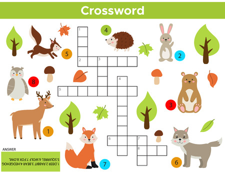 Vector bos dieren kruiswoordraadsel in het Engels. Onderwijsspel voor kinderen met antwoord. Afdrukbaar werkblad. Schattige cartoon konijn, vos, wolf, eekhoorn, uil, beer, hert, egel.