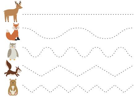 Feuille de travail de ligne de trace pour les enfants, pratiquant la motricité fine. Animaux de la forêt de dessin animé mignon. Jeu éducatif pour les enfants d'âge préscolaire. Illustration vectorielle.