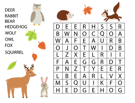 Educational game for kids. Word search game. Forest animals. Cute cartoon deer, rabbit, owl, hedgehog and squirrel. Learning english vocabulary. Vector illustration.