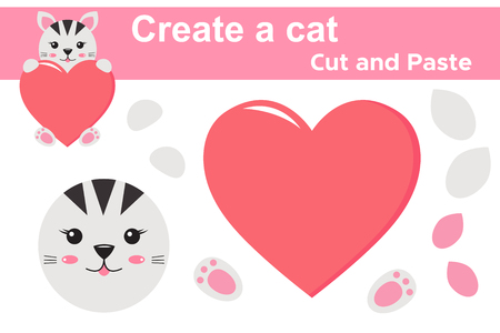 Create a cat, educational paper game for children. Valentines day theme. Cut and paste. Scissors and glue. Kawaii. Vector illustration.